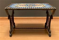 A Deco Style Tile Top Wrought Iron Low Table
