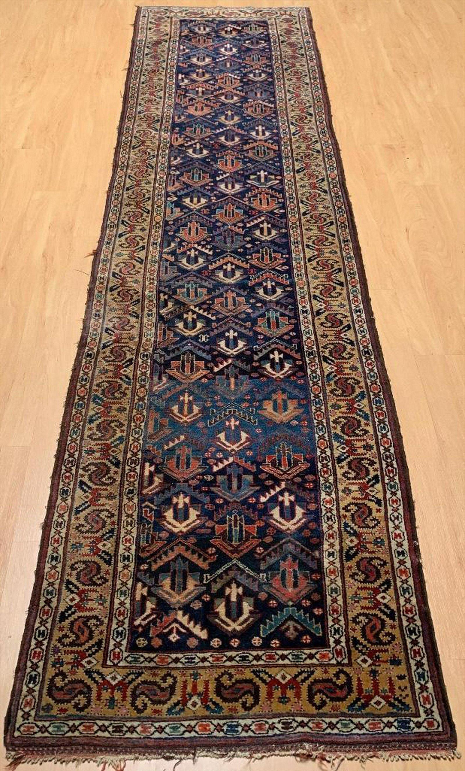 Caucasian Shirvan Wool Carpet Runner, Antique
