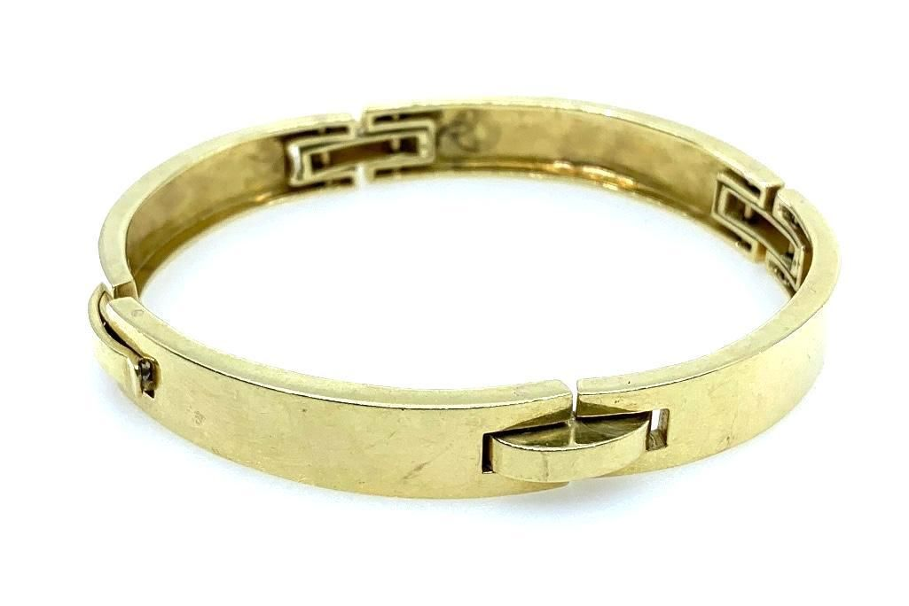 18K Yellow Gold Curved Bar Link Bracelet