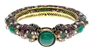 Indian Gold Emerald Pink Sapphire and Pearl Bracelet