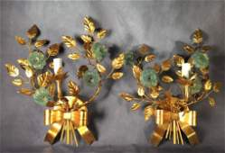 Pair of Italian Gilt and Glass Wall Sconces