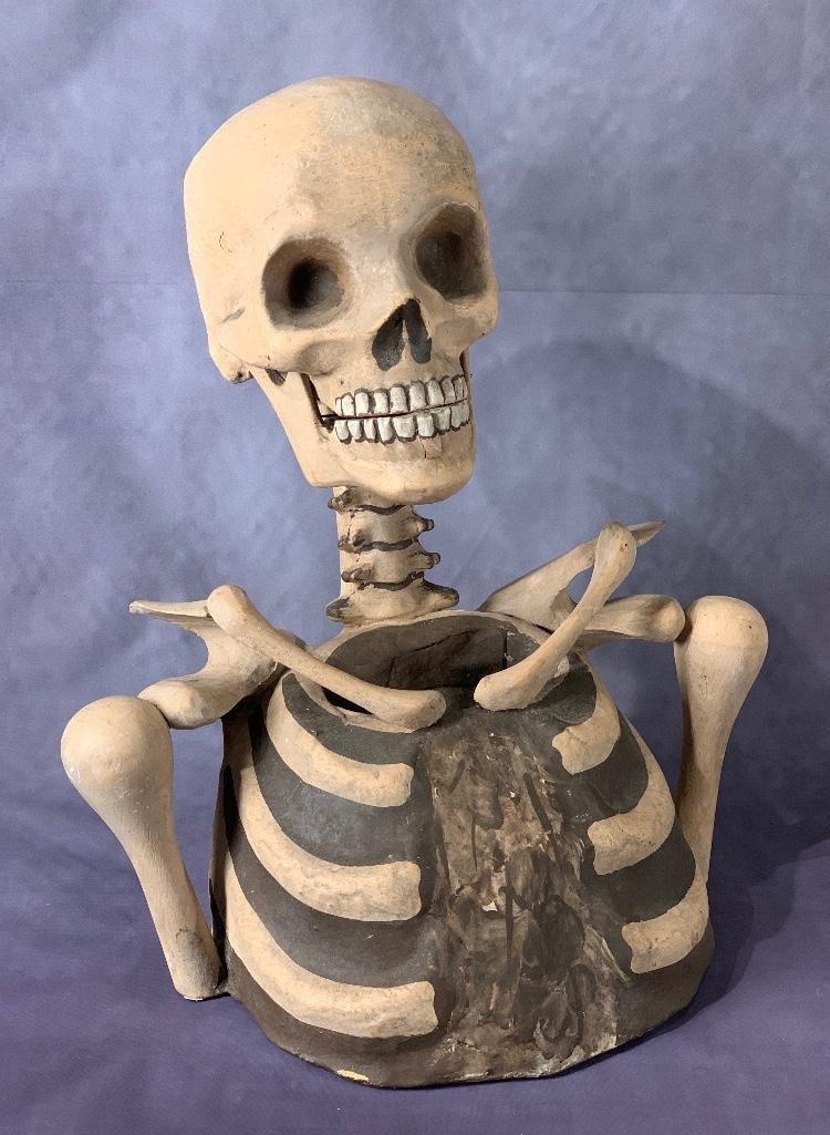 Odd Fellows I.O.O.F  Papier Mache Carved Wood Skeleton
