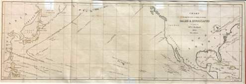 1855 Perry Expedition Map of Gales and Hurricanes