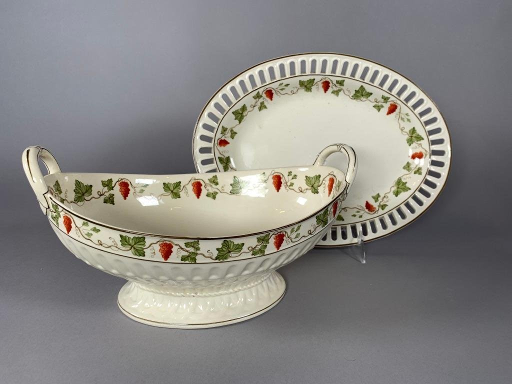 Early Wedgwood Creamware Fruit Bowl and Underplate,
