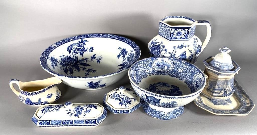 Assorted Lot of English Blue and White Ware