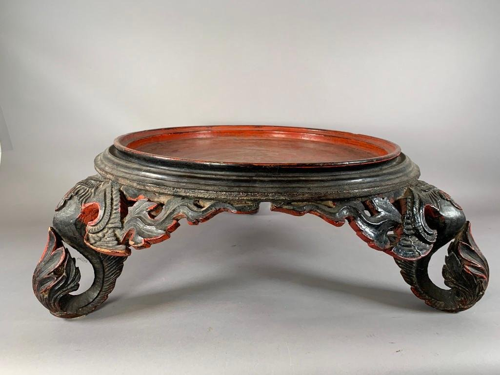 Chinese Carved and Lacquered Vase Stand