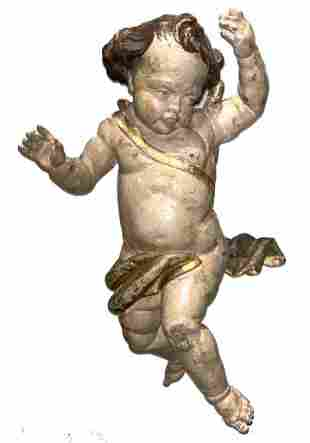 German or Italian Baroque Carved Polychromed Cherub
