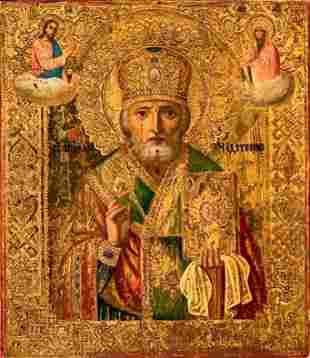Russian Painted and Gilded Icon, St.Nicholas
