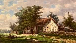 Johan Nicholaas Van Lokhorst Oil, Farm Scene, 1861