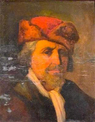 19thc. German School Oil, Portrait, Gentleman in Red