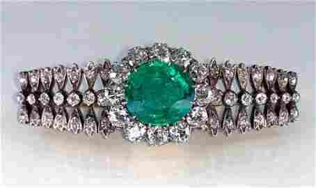 Antique Colombian Emerald, Gold, Diamond Brooch