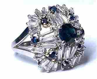 Boucheron Platinum Diamond and Sapphire Cocktail Ring