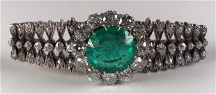 Antique Colombian Emerald, Gold, Diamond and Platinum