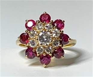 14K Yellow Gold, Diamond and Ruby Cocktail Ring