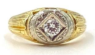 Gentleman's 14K Yellow and White Gold and Diamond Ring