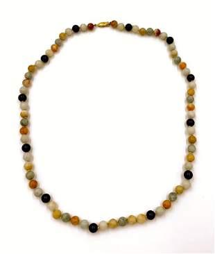 Multi-color Jade Beaded Necklace