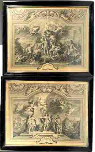 Pair of Engravings After Charles Le Brun, Le Roi, Grand