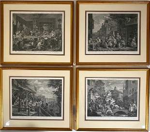 Four William Hogarth Engravings, Election Series