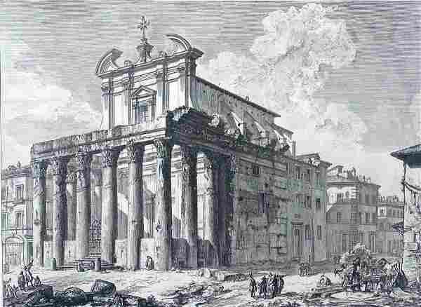 "G.B. Piranesi Engraving, "" Veduta del Tempio Antonino e"