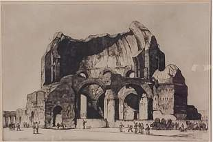 Louis Conrad Rosenberg Drypoint, Temple of Minerva