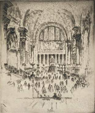 Joseph Pennell Etching, 'The Marble Hall, Pennsylvania