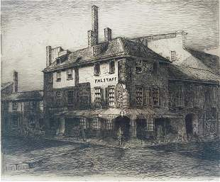 Joseph Pennell Etching, Falstaff Hotel