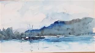 Scottish School Watercolor, Signed Tarbert