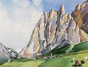 Arcangelo Salvarani Watercolor, ' Pyrenees