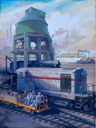 Louis Valentine Bonhajo Illustration, Industrial Scene