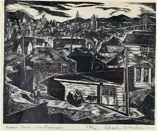 Charles Surendorf Wood Engraving, 'Russian Town, San