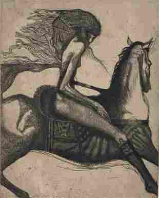 Bill Brauer Etching, 'Equestrian'