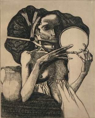 Bill Brauer Etching, 'Mirror'