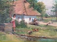 Mieczyslaw Krzyzak Oil, Farm Scene with Figures
