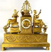French Gilt Bronze Figural Mantle Clock, c.1815-30