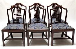 Set of Six Irish Georgian Mahogany Dining Chairs