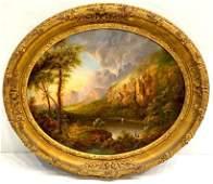 Hudson River School Oil, Mountainous River Landscape