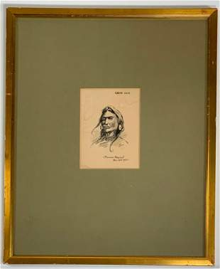 Thomas Bryant Drawing, Native American Portrait