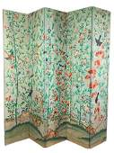 Lovely Chinese Hand Painted Wallpaper Screen, c.1800