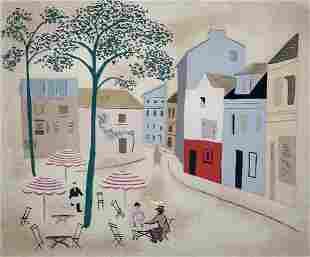 "Jean Hugo Screenprint ""Place du Tertre"""