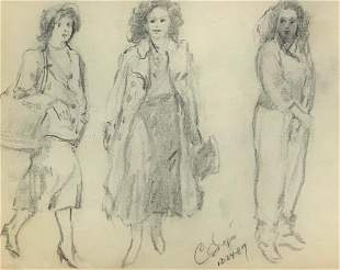 Clyde Singer Drawing, Three Women