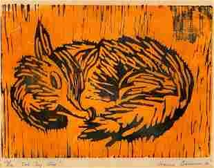 "Joanne Bauman Woodcut, ""The Sly One"""