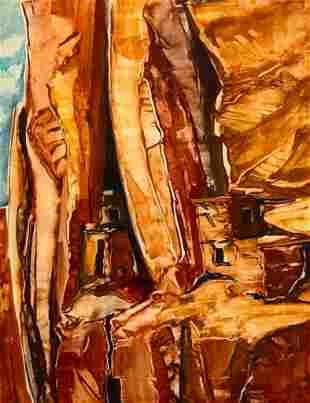 "Garnet Moore Keeney Watercolor, ""Cliff Dwellings of the"