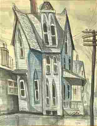Stan Rosenthal Watercolor, Victorian House