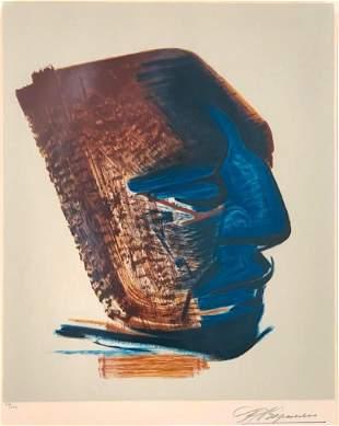 """David Alfaro Siqueiros Lithograph, """"Mask"""""""