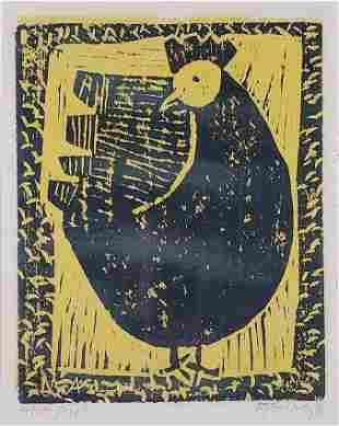 "Milton Avery Color Woodblock ""Hen"""