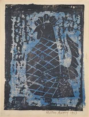 """Milton Avery Color Woodblock """"Rooster"""""""