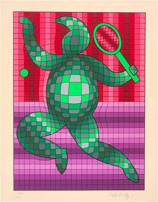 """Victor Vasarely Screenprint, """"The Tennis Player"""""""