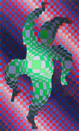 Victor Vasarely Serigraph, Dancing Figure
