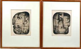 """Pair of Dorothy Rutka Kennon Etchings, """"Woman"""" and"""