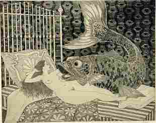 """Curt Frankenstein Etching, """"The Magical Bedchamber"""""""
